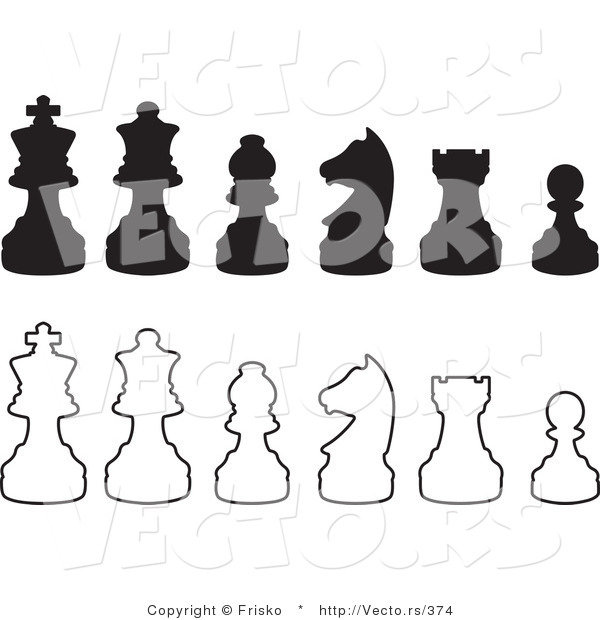 Vector of Silhouetted and Outlined Chess Pieces