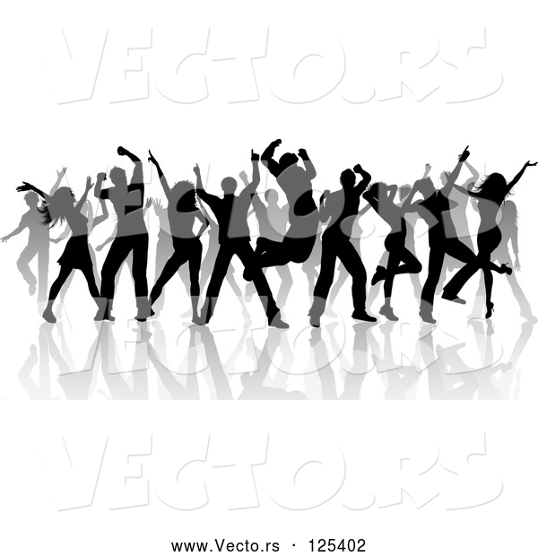 Vector of Silhouetted Black Dancers and Reflections on White