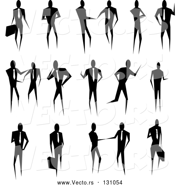 Vector of Silhouetted Collection of Business People Conducting Business and Standing in Poses