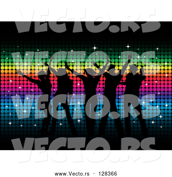 Vector of Silhouetted Dancers over Rainbow Colored Mosaic Background