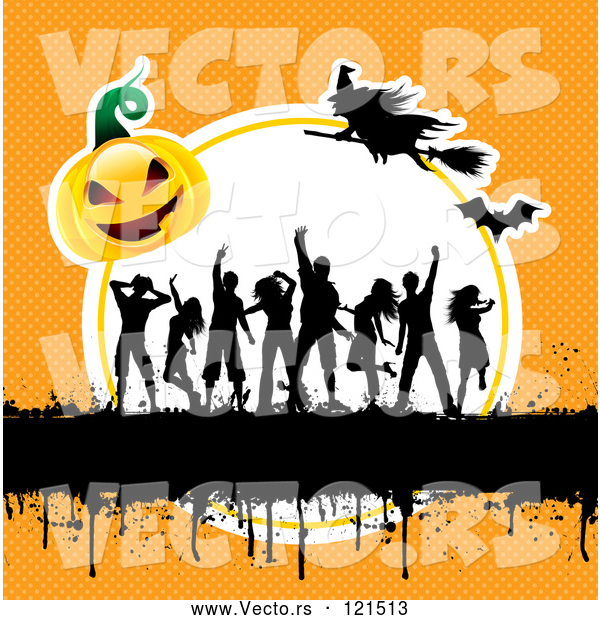 Vector of Silhouetted Dancers with Gurnge a Halloween Pumpkin and Witches on Orange