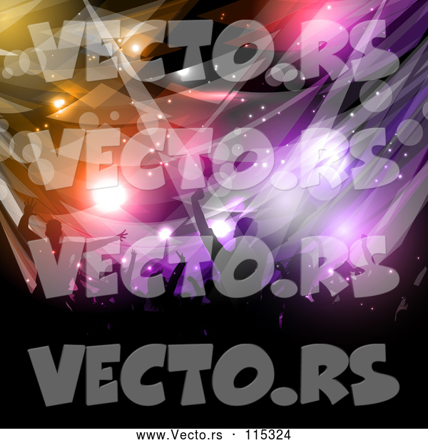 Vector of Silhouetted Dancing and Cheering Crowd over Colorful Flares and Lights