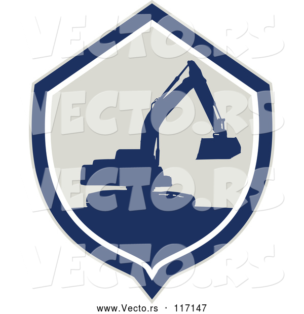 Vector of Silhouetted Excavator Machine in a Shield