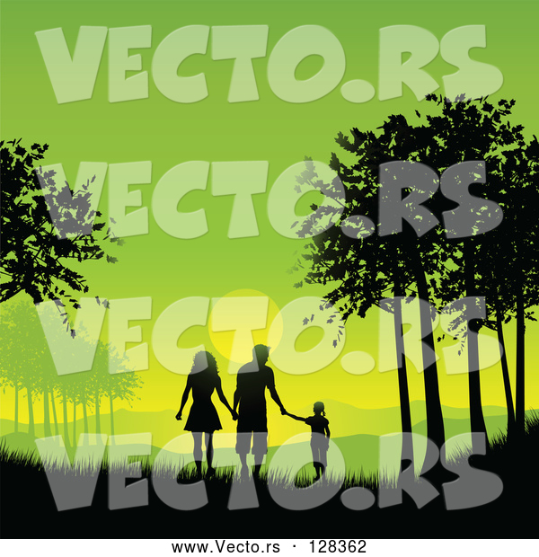 Vector of Silhouetted Family Holding Hands and Walking Between Trees Against a Green Sunset