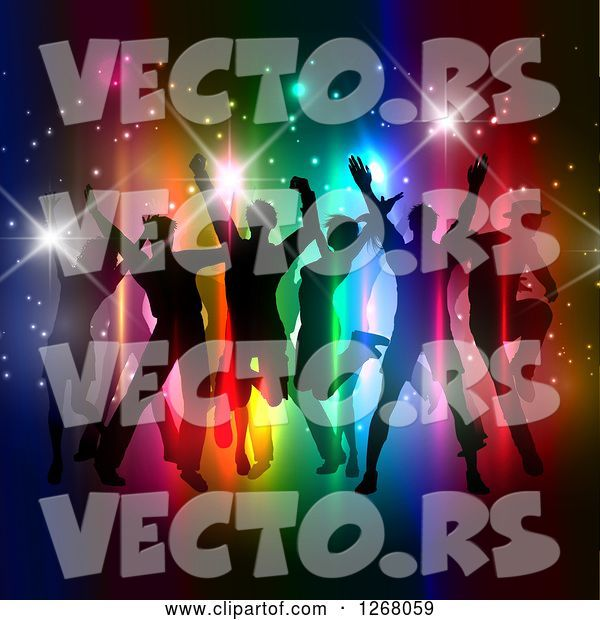 Vector of Silhouetted Group of People Dancing and Jumping over Colorful Lights and Flares
