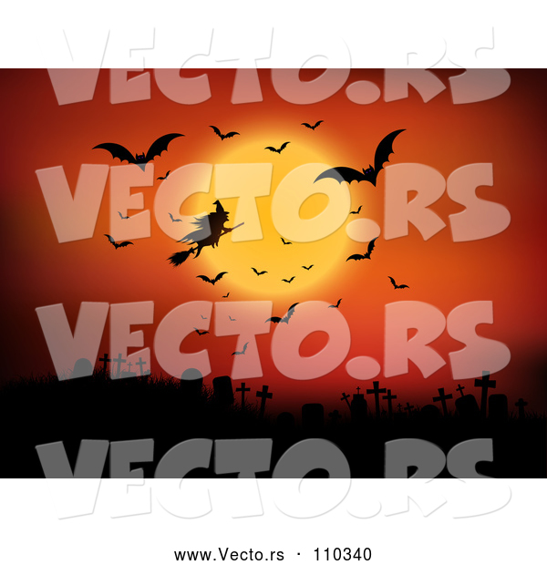 Vector of Silhouetted Halloween Witch Flying on a Broomstick Against an Orange Full Moon Sky with Vampire Bats over a Cemetery