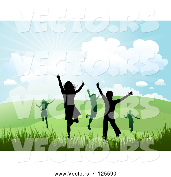 Vector of Silhouetted Happy Children Running and Jumping in a Hilly Summer or Spring Landscape