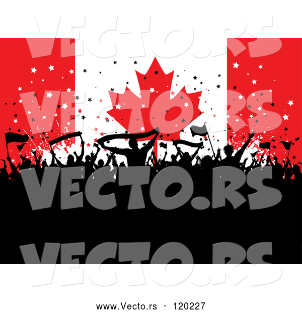 Vector of Silhouetted Party People over a Canadian Flag