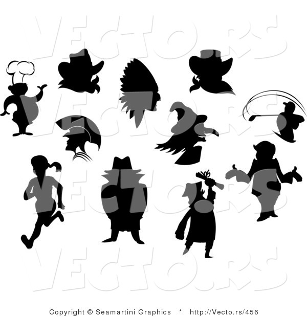 Vector of Silhouetted People and Characters