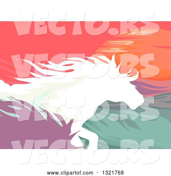 Vector of Silhouetted Running Horses Against the Sunset