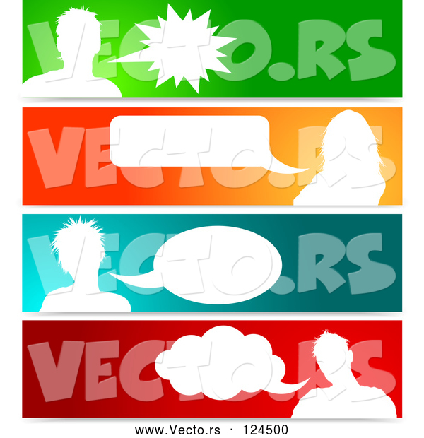 : Vector of Silhouetted Talking Avatars with Copyspace on Colorful Banners