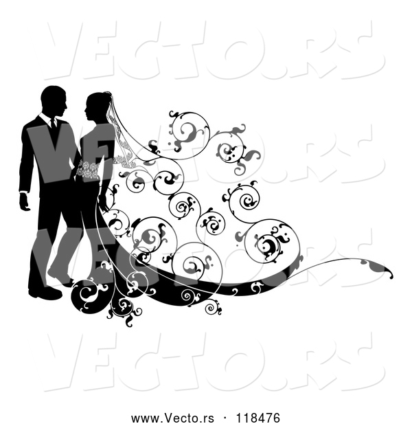 Vector of Silhouetted Wedding Couple with Ornate Swirls