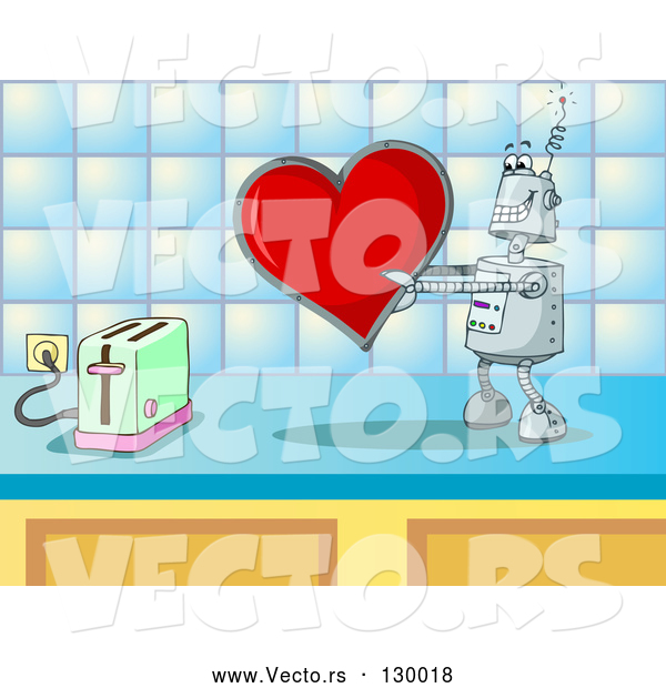 Vector of Silly Robot in Love, Holding a Red Heart Valentine out to a Toaster on a Kitchen Counter