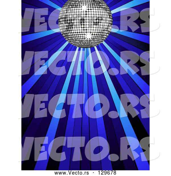 Vector of Silver Disco Ball Shining in Spotlights on a Blue Background