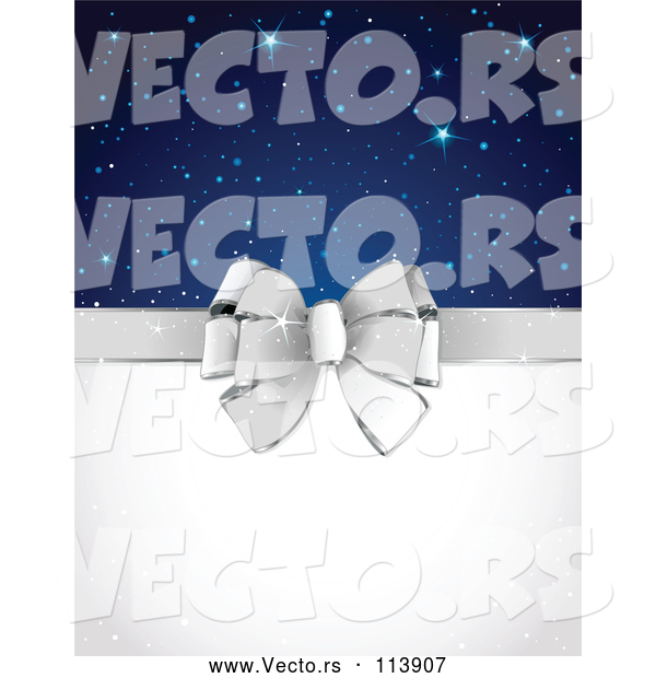 Vector of Silver Gift Bow and Blank Text Space with Stars and Sparkles