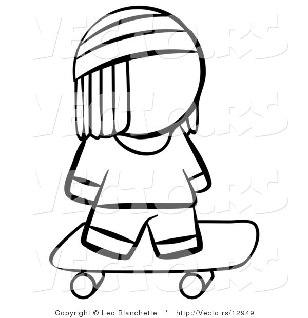 Vector of Skater Boy - Coloring Page Outlined Art