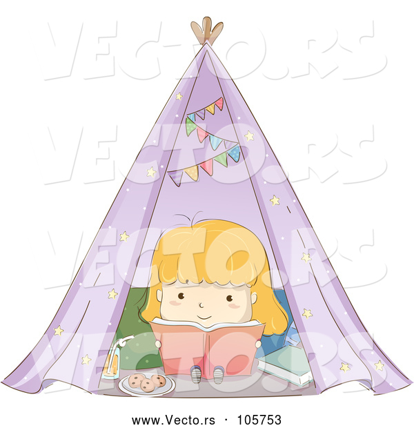 Vector of Sketched Blond White Girl Reading a Book in a Tent