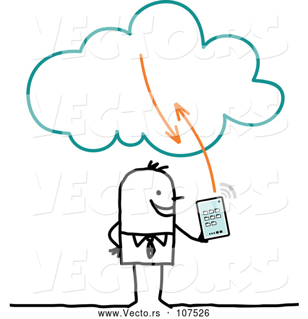 Vector of Sketched Stick Businessman Using a Tablet on the Cloud
