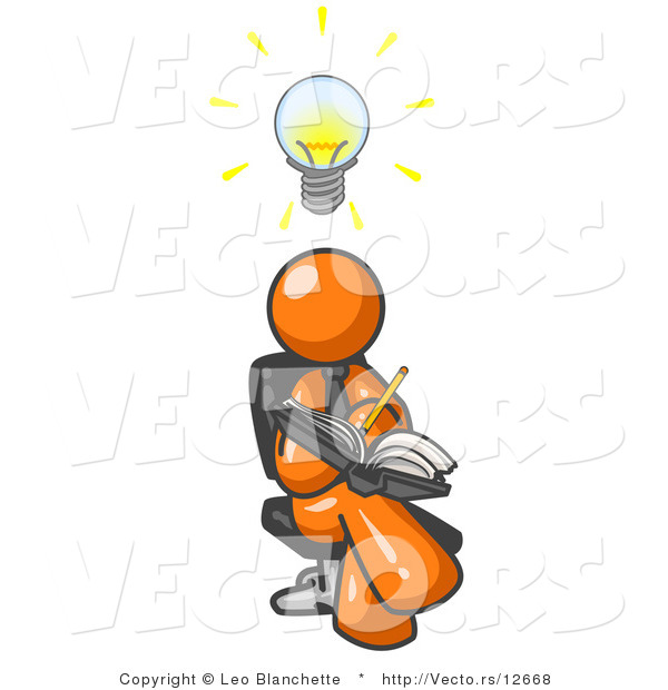 Vector of Smart Orange Guy Seated with His Legs Crossed, Brainstorming and Writing Ideas down in a Notebook, Lightbulb over His Head