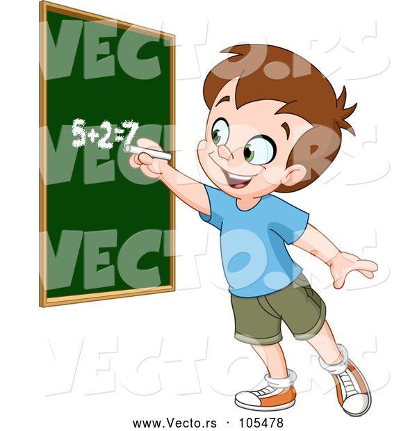 Vector of Smart School Boy Solving an Addition Math Problem on a Chalk Board
