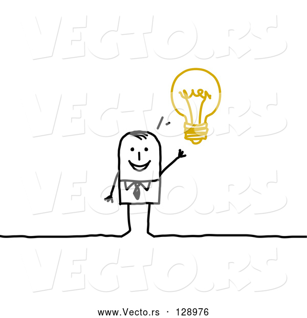 Vector of Smart Stick Business Man with an Idea Displayed As a Light Bulb