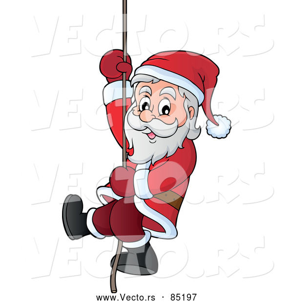 Vector of Smiling Santa Sliding down a Rope