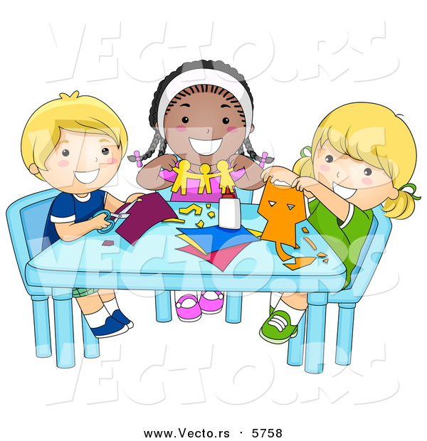 Vector of Smiling School Kids in Art and Crafts Class - Diversity Cartoon Style