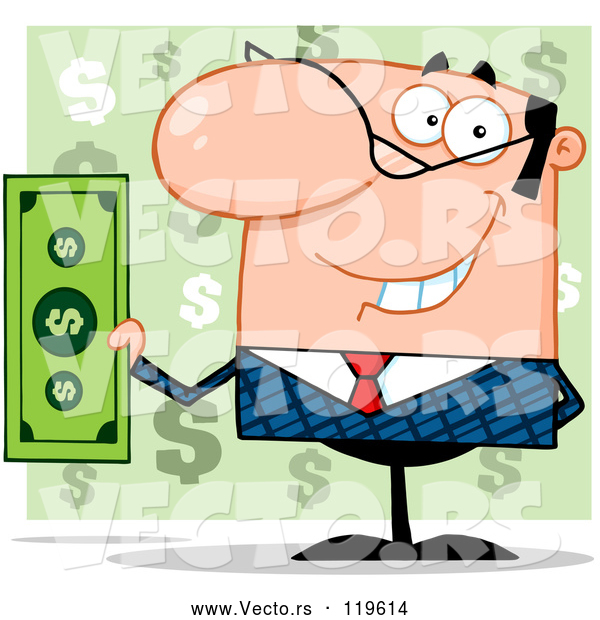 Vector of Smiling White Businessman Holding Cash and One Hand Behind His Back, over Green Question Marks