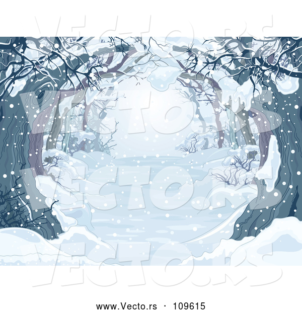 Vector of Snow Covered Tree Lined Driveway or Forest