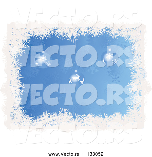 Vector of Snowflake and Reindeer Patterned Christmas Baubles Hanging over a Blue Snowflake Background Bordered by White Tinsel