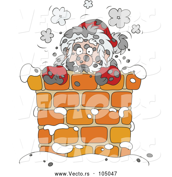 : Vector of Sooty Santa in a Chimney