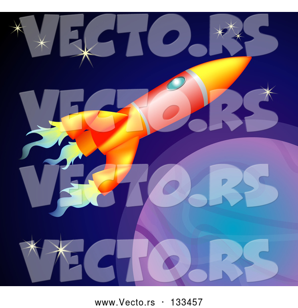 Vector of Space Rocket Flying past Planets and Stars in Space