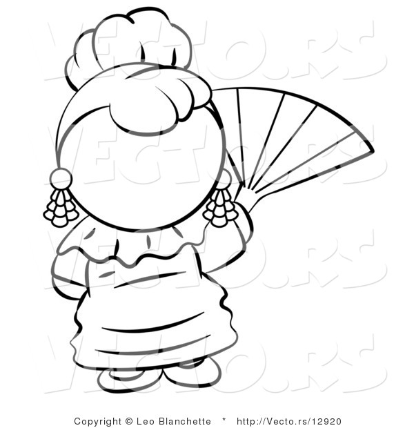 Vector of Spanish Girl Waving a Hand Fan - Coloring Page Outlined Art