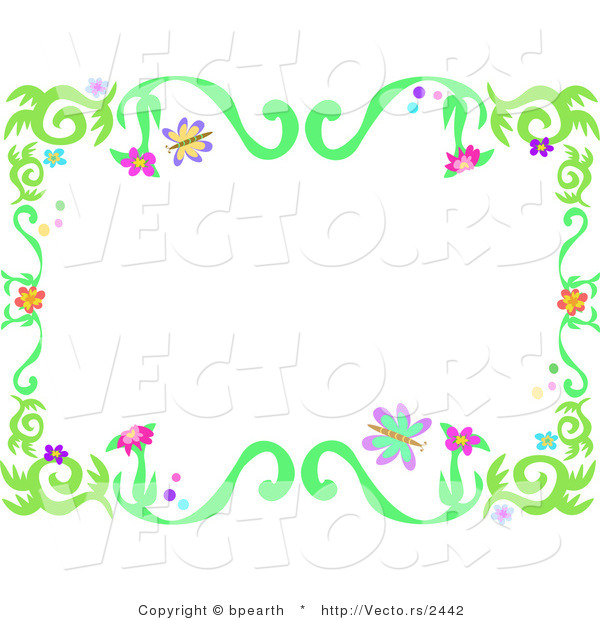 Vector of Spring Floral Vine Border with Colorful Flowers and Butterflies