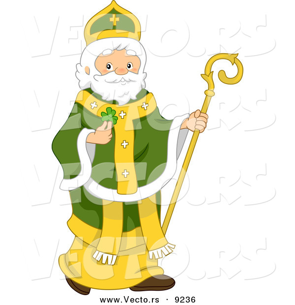 Vector of St. Patrick Holding a Lucky Irish Clover and Staff