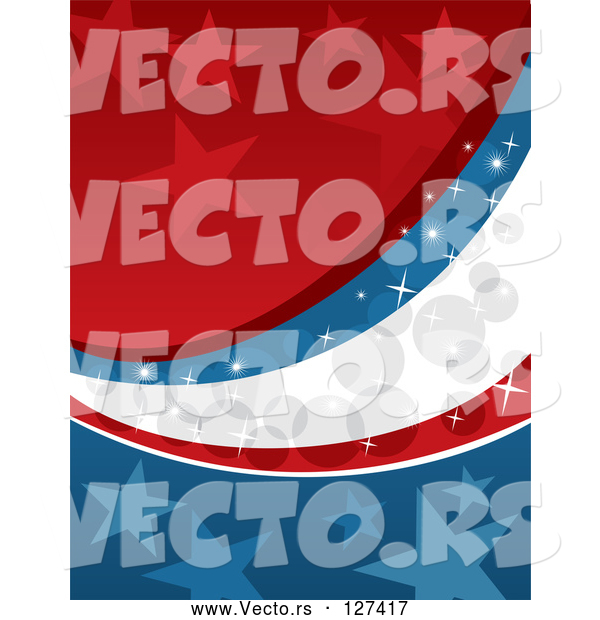 Vector of Starry Red, White and Blue Sparkly Americana Background