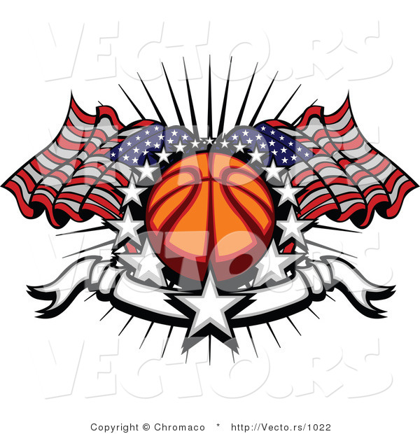 Vector of Stars Surrounding Basketball with American Flags and a Banner