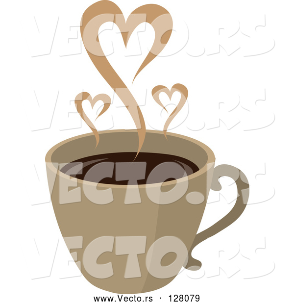 Vector of Steam Hearts Rising from a Brown Cup of Coffee