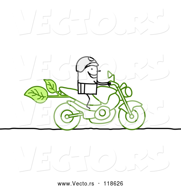 Vector of Stick Biker on a Green Motorcycle