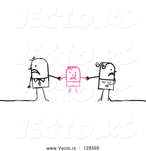 Vector of Stick People Character Couple Playing Tug of War on Their Child While Getting a Divorce