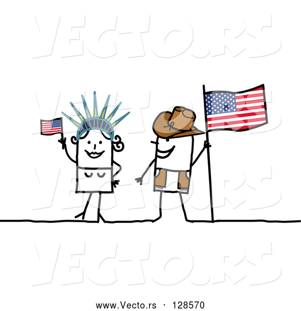 Vector of Stick People Character Couple Touring America, with a Flag and Statue of Liberty