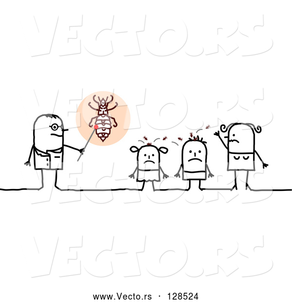 Vector of Stick People Character Doctor Speaking to Lice Covered KChildren