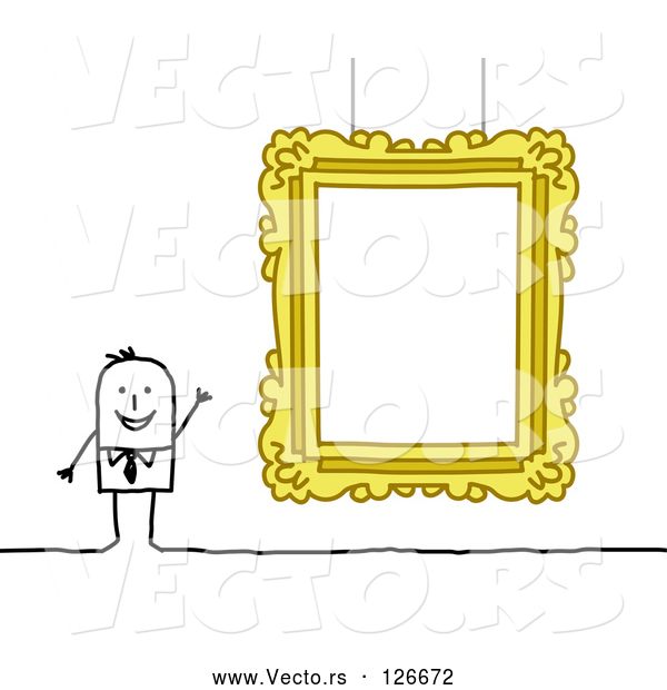 Vector of Stick People Guy Presenting a Blank Gallery Frame