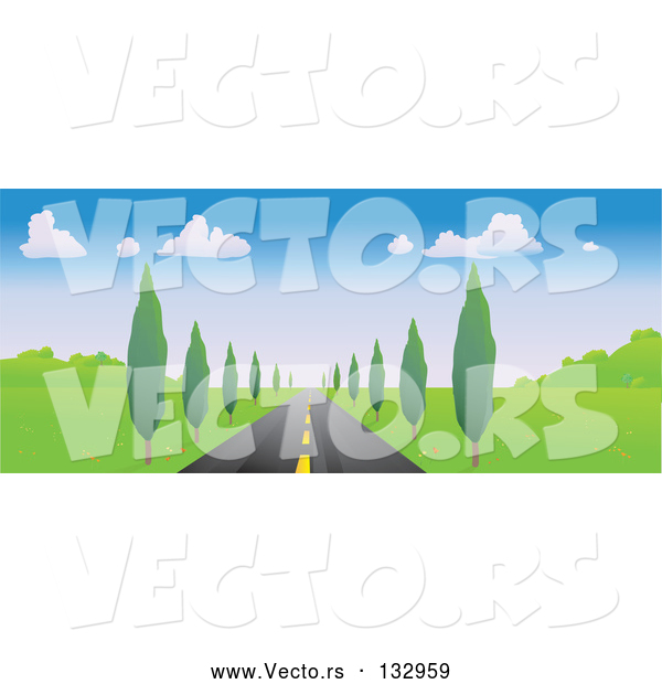 Vector of Strait Tree Lined Road Leading Forward