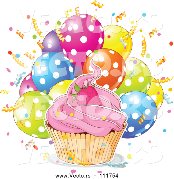 Vector of Strawberry Cupcake with a White Ouline over Confetti and Polka Dot Balloons