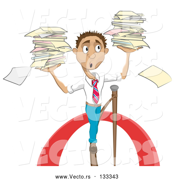 Vector of Stressed Cartoon Business Man Carrying Stacks of Papers While Walking on a Tightrope