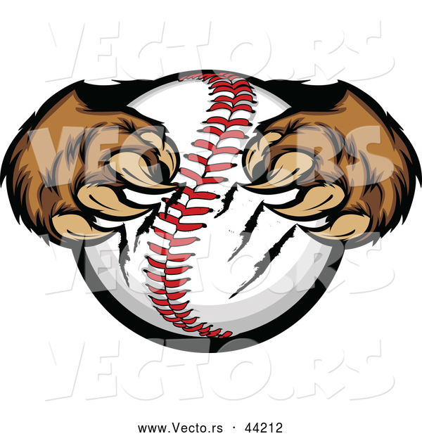 Vector of Strong Cartoon Bear Paws Tightly Gripping a Baseball with Its Sharp Claws