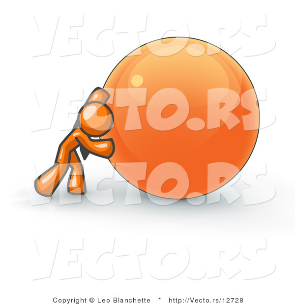 Vector of Strong Orange Business Guy Pushing an Orange Sphere