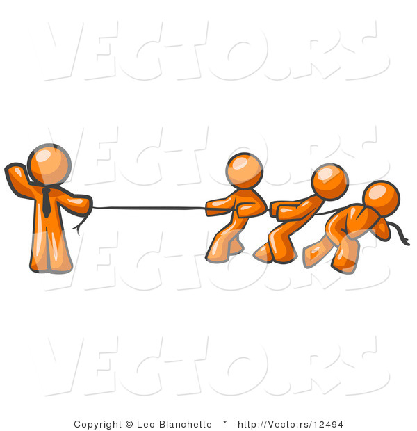 Vector of Strong Orange Guy Holding One End of Rope While Three Others Pull on the Other Side During Tug of War