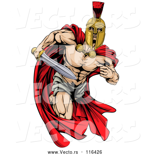 Vector of Strong Spartan Trojan Warrior Mascot Running with a Sword